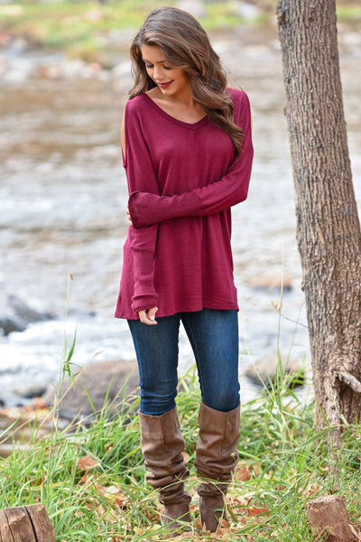 In My Feelings Top - Burgundy women's long sleeve cold shoulder top, closet candy boutique 1