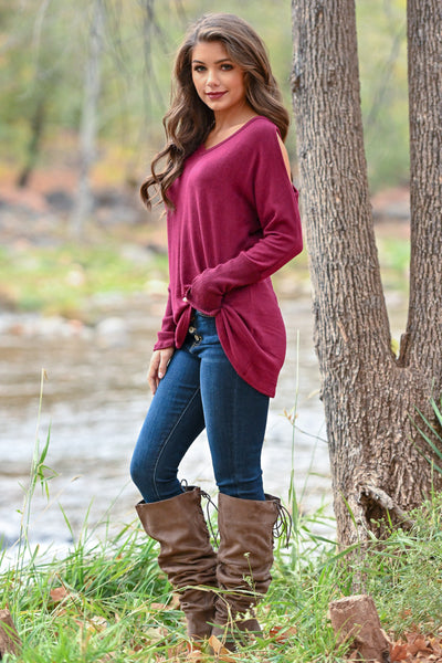 In My Feelings Top - Burgundy women's long sleeve cold shoulder top, closet candy boutique 2