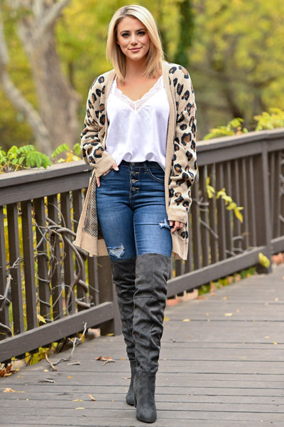 It Comes Naturally Leopard Cardigan - Tan sweater with Black and Brown leopard print closet candy boutique 2