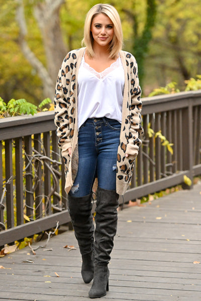 It Comes Naturally Leopard Cardigan - Tan sweater with Black and Brown leopard print closet candy boutique 1