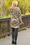 It Comes Naturally Leopard Cardigan - Tan sweater with Black and Brown leopard print closet candy boutique 3