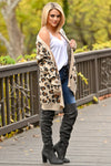 It Comes Naturally Leopard Cardigan - Tan sweater with Black and Brown leopard print closet candy boutique 4