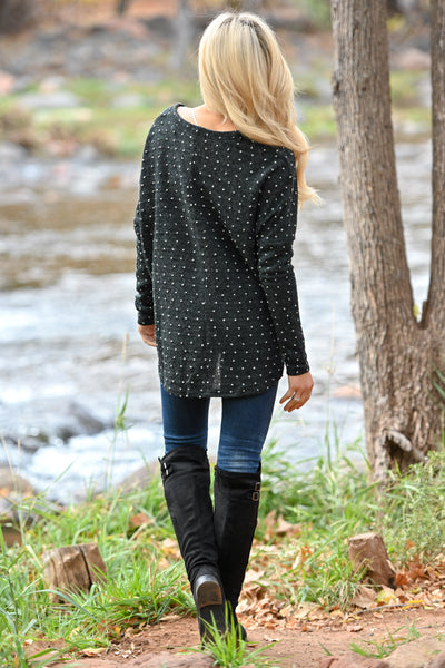 Brunch Please Polka Dot Top - Black women's long sleeve button up top, front tie, Closet Candy Boutique 4