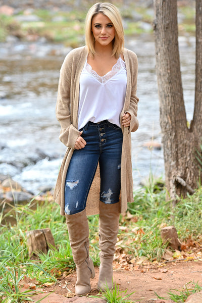 Comfort In The Chaos Cardigan - Tan women's long duster open front sweater, Closet Candy Boutique 2