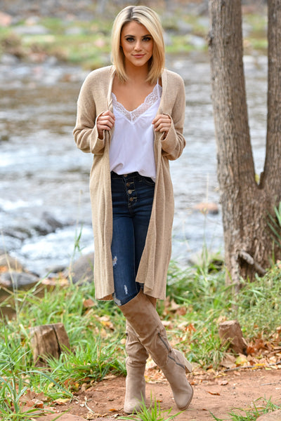 Comfort In The Chaos Cardigan - Tan women's long duster open front sweater, Closet Candy Boutique 1