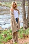 Comfort In The Chaos Cardigan - Tan women's long duster open front sweater, Closet Candy Boutique 3