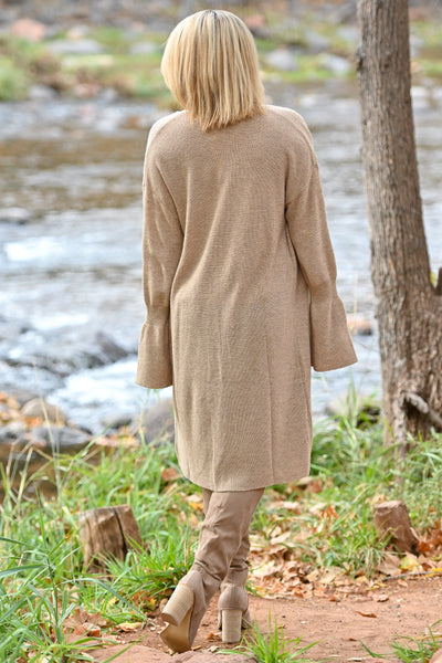 Comfort In The Chaos Cardigan - Tan women's long duster open front sweater, Closet Candy Boutique 4