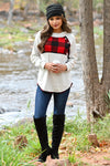 Dancing Around The Fire Top - Ivory women's long sleeve with buttons and buffalo plaid contrast, Closet Candy Boutique 1