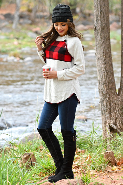 Dancing Around The Fire Top - Ivory women's long sleeve with buttons and buffalo plaid contrast, Closet Candy Boutique 2