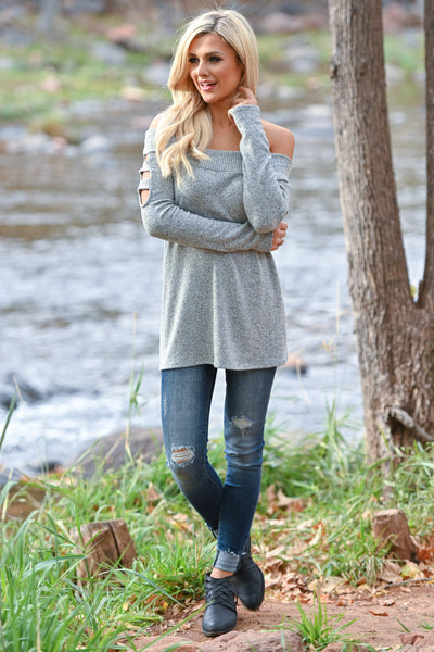 When She Walks In Top - Heather Grey women's soft off the shoulder top with cutout long sleeves, Closet Candy Boutique 1