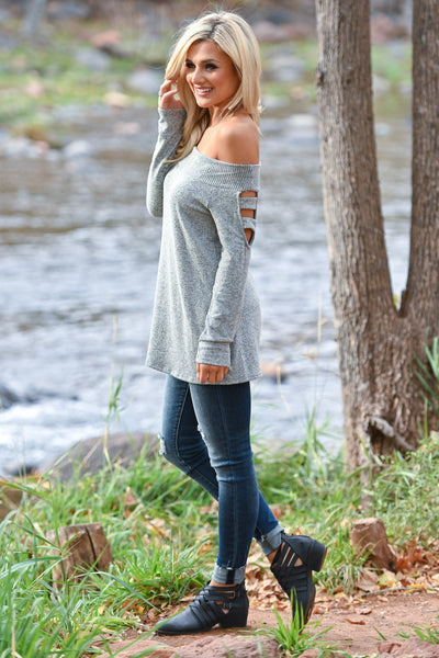 When She Walks In Top - Heather Grey women's soft off the shoulder top with cutout long sleeves, Closet Candy Boutique 2