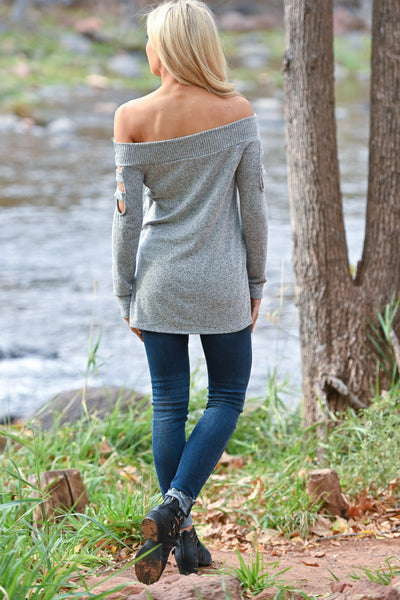 When She Walks In Top - Heather Grey women's soft off the shoulder top with cutout long sleeves, Closet Candy Boutique 3