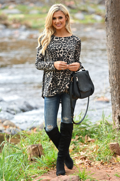 Wild Times Knot Hem Top - Leopard women's animal print long sleeve top, Closet Candy Boutique 2