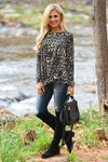 Wild Times Knot Hem Top - Leopard women's animal print long sleeve top, Closet Candy Boutique 1