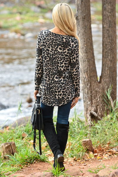 Wild Times Knot Hem Top - Leopard women's animal print long sleeve top, Closet Candy Boutique 3