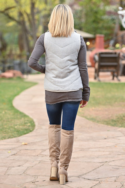 Take A Hike Vest - Natural high neck vest with pockets, closet candy boutique 3