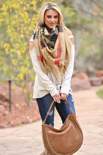 Infinite Options Plaid Blanket Scarf - Tan, Black, Red plaid scarf, Closet Candy Boutique 3