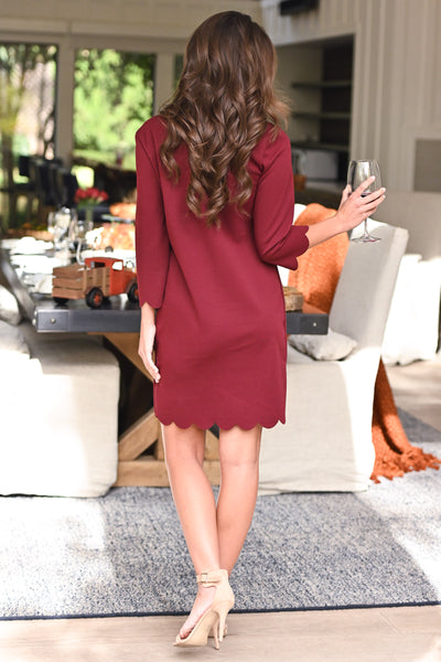 First Date Scalloped Dress - Burgundy 3/4 sleeve petal hem scalloped dress, closet candy boutique 3