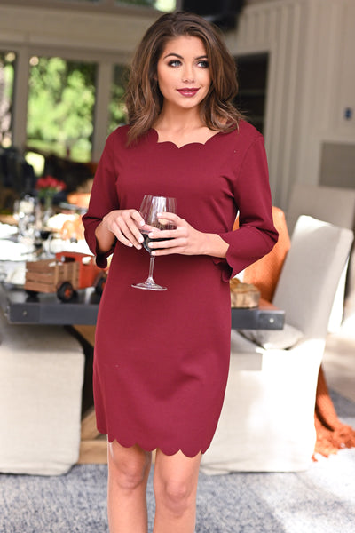 First Date Scalloped Dress - Burgundy 3/4 sleeve petal hem scalloped dress, closet candy boutique 1