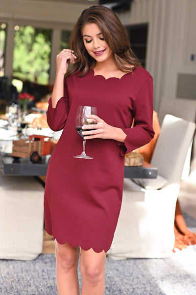 First Date Scalloped Dress - Burgundy 3/4 sleeve petal hem scalloped dress, closet candy boutique 4