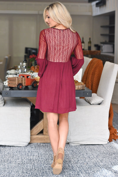 Grateful Heart Lace Dress - Burgundy women's bell sleeve babydoll style lace dress, closet candy boutique 6
