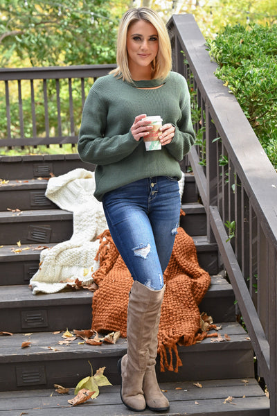 Feels Just Right Sweater - Basil women's chunky sweater with neckline cutout, closet candy boutique 3