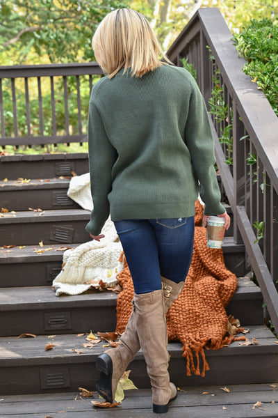Feels Just Right Sweater - Basil women's chunky sweater with neckline cutout, closet candy boutique 2