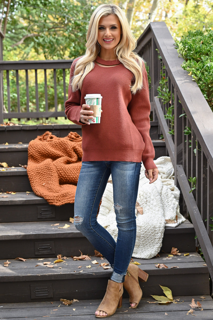 Feels Just Right Sweater - Rust women's chunky sweater with neckline cutout, closet candy boutique 1