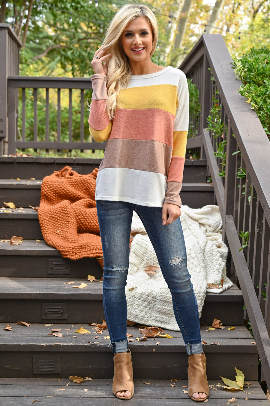 Beyond The Horizon Top - Ivory sunshine, orange and cocoa women's long sleeve color block top, closet candy boutique 1