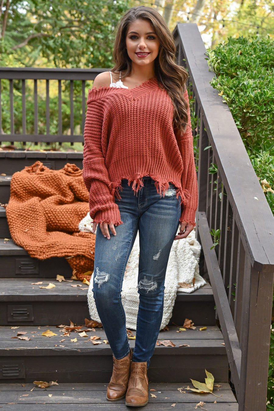 Up For Anything Sweater - Brick knit women's v-neck sweater with frayed edges, Closet Candy Boutique 1