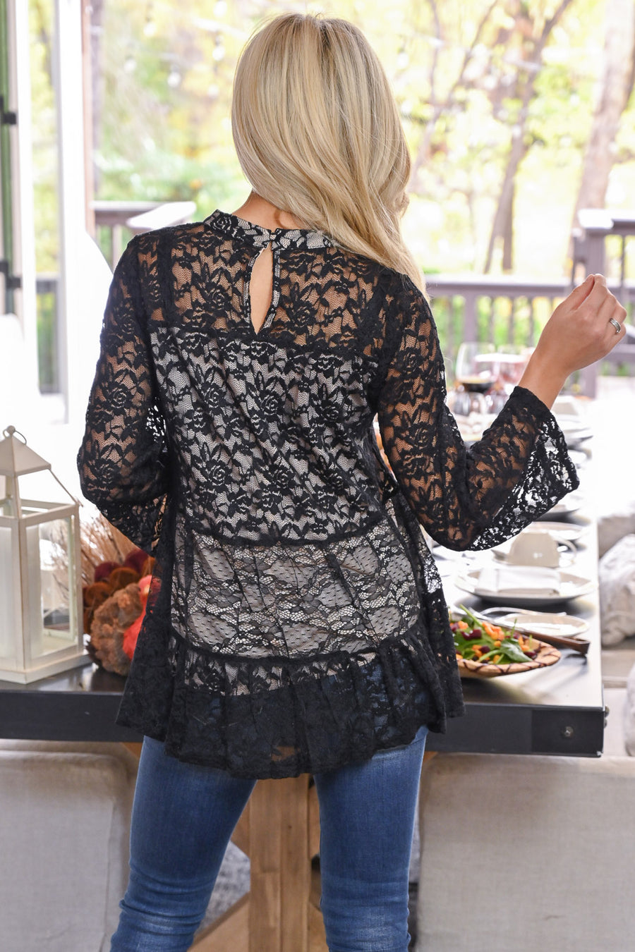 Counting Blessings Lace Top - Black women's long sleeve lace babydoll top, closet candy boutique 1
