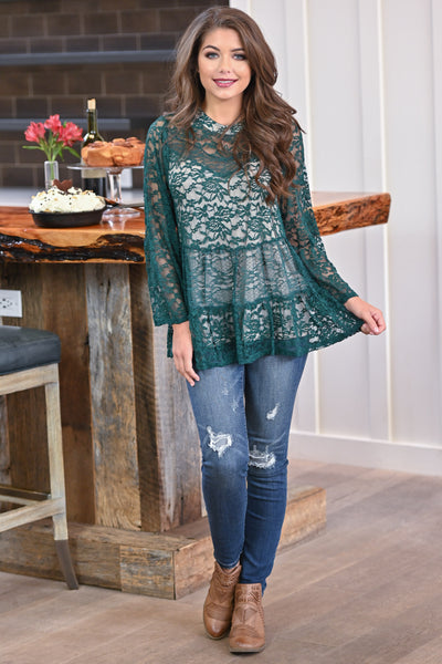 Counting Blessings Lace Top - Hunter Green women's long sleeve lace babydoll top, closet candy boutique 3