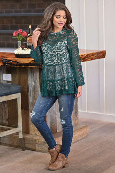 Counting Blessings Lace Top - Hunter Green women's long sleeve lace babydoll top, closet candy boutique 1