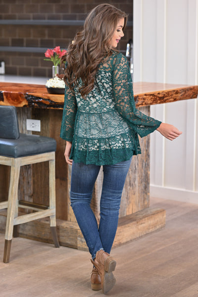 Counting Blessings Lace Top - Hunter Green women's long sleeve lace babydoll top, closet candy boutique 4