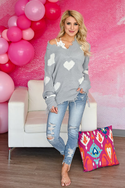 Love Lockdown Heart Sweater - Grey womens trendy long sleeve frayed detailed v-neck heart print sweater closet candy front 2