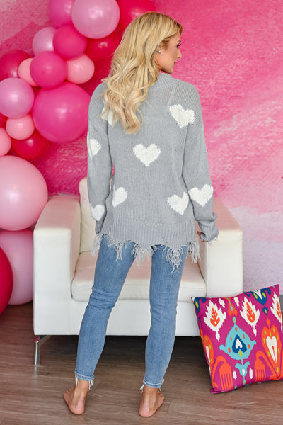 Love Lockdown Heart Sweater - Grey womens trendy long sleeve frayed detailed v-neck heart print sweater closet candy back