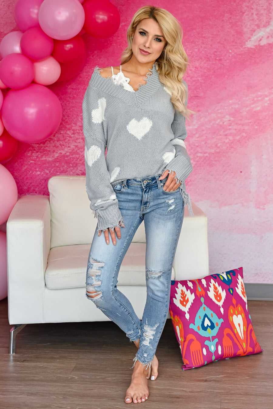 Love Lockdown Heart Sweater - Grey womens trendy long sleeve frayed detailed v-neck heart print sweater closet candy sitting