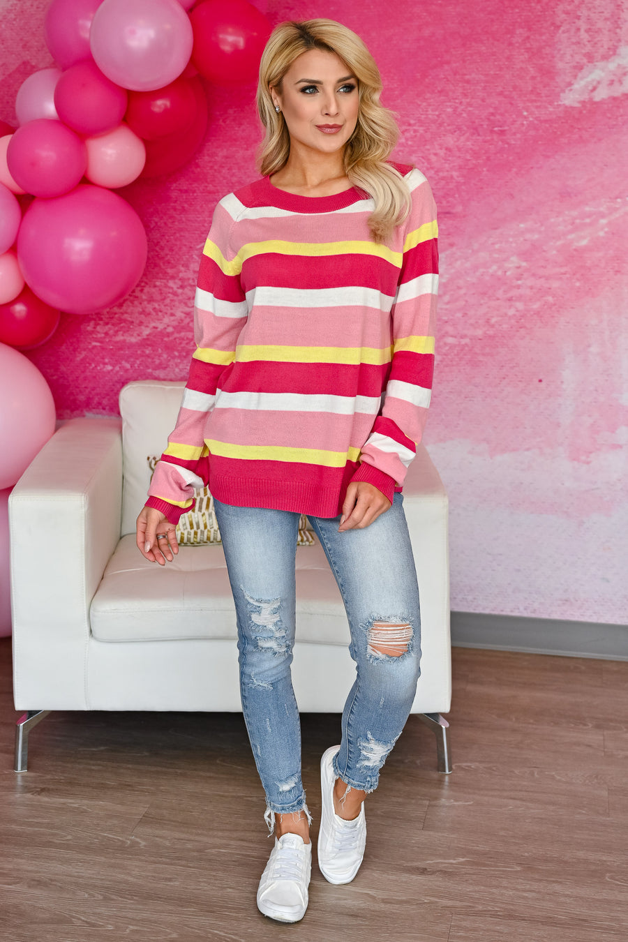 Candy Striper Sweater - Hot Pink womens trendy long sleeve round neckline lightweight sweater closet candy front