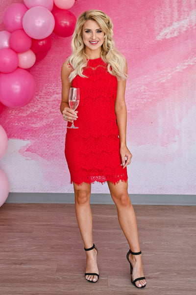 Champagne Please Lace Dress  - Red womens sleeveless fitted scallop edge lace short dress closet candy front