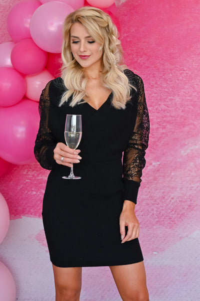 So Romantic Wrap Dress - Black womens trendy long sleeve wrap detail lace sleeves short dress closet candy front