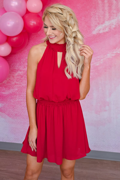 All The Feels Dress - Scarlet womens trendy sleeveless mini dress smocked halter neckline closet candy front