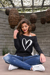 Heart Off the Shoulder Sweatshirt - black women's off-the-shoulder sweatshirt with love, Closet Candy Boutique 1