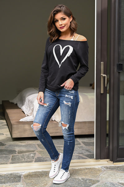 Heart Off the Shoulder Sweatshirt - black women's off-the-shoulder sweatshirt with love, Closet Candy Boutique 2