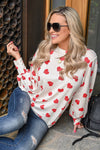 Love You More Heart Top - Ivory women's long sleeve with red heart print, Closet Candy Boutique 1