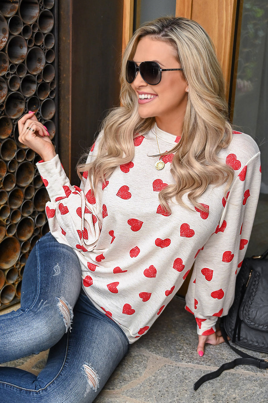 Love You More Heart Top - Ivory