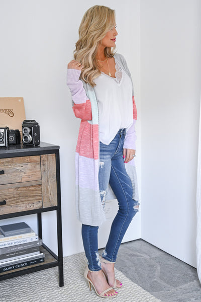 With Love Color Block Cardigan - Multicolor women's duster cardigan, Closet Candy Boutique 3