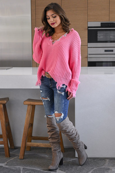 Up For Anything Sweater - Pink knit women's v-neck sweater with frayed edges, Closet Candy Boutique 2