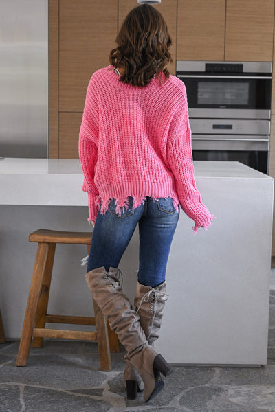Up For Anything Sweater - Pink knit women's v-neck sweater with frayed edges, Closet Candy Boutique 4
