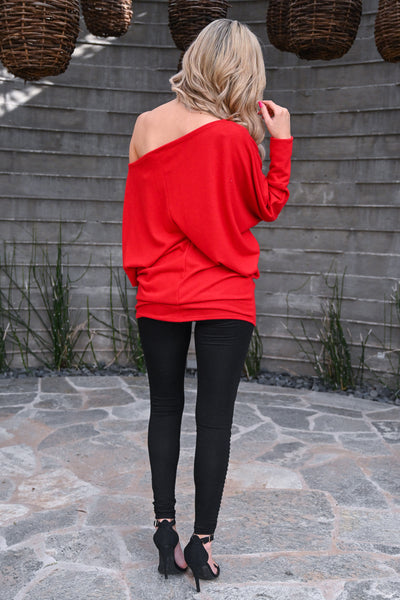 Brush It Off Top - Red long sleeve off the shoulder top, Closet Candy Boutique 3