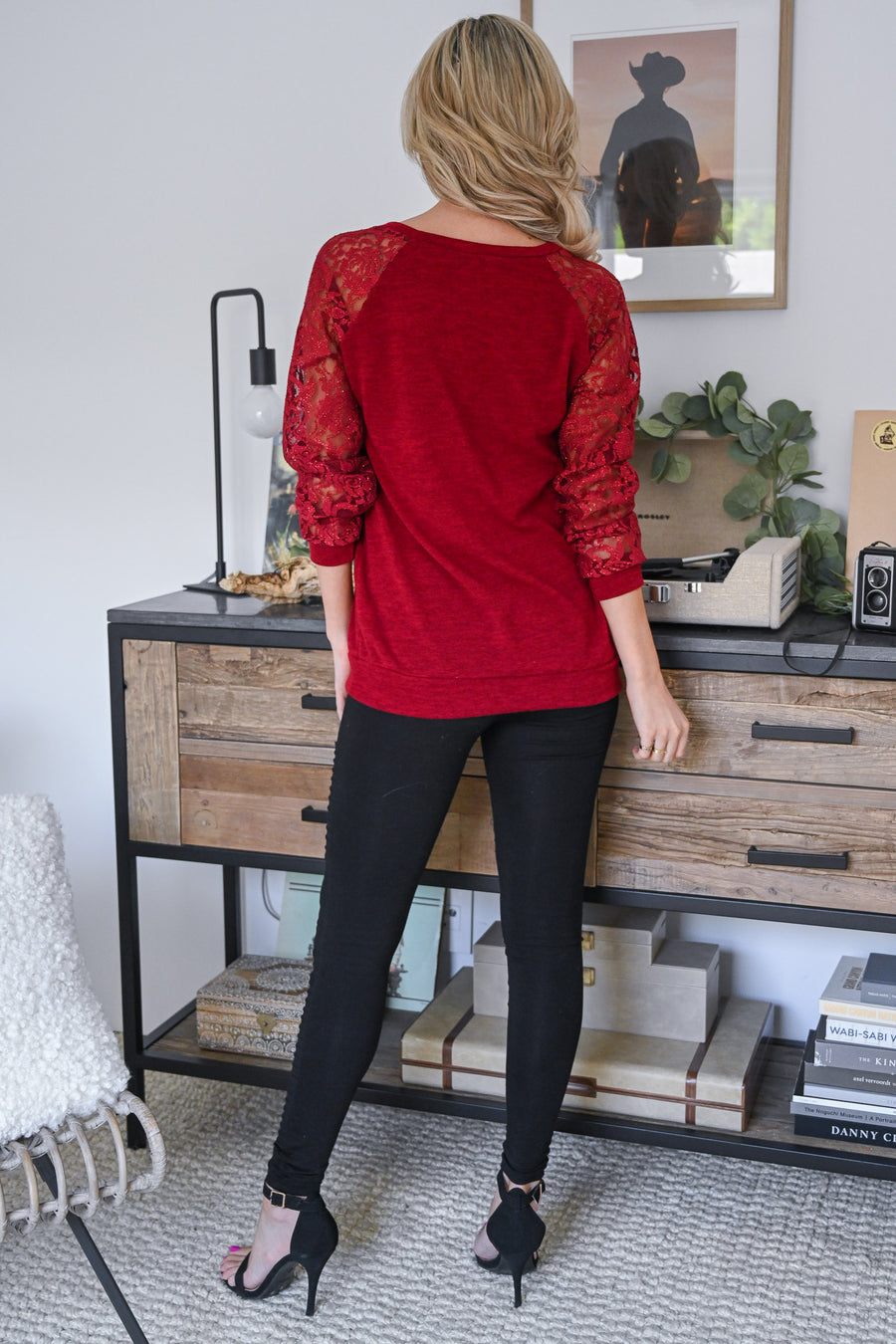 Stop & Smell The Roses Top - Burgundy women's long sleeve, sparkly, glitter raglan, Closet Candy Boutique 1